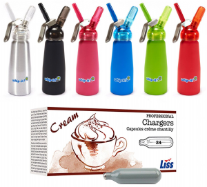 600 Liss Cream Chargers & 1/2 Litre Whip It! Whipped Cream Dispenser with Translucent Head